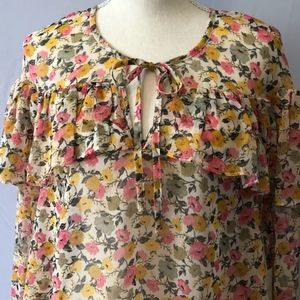 Forever 21  sheer flower tunic US size M NWT